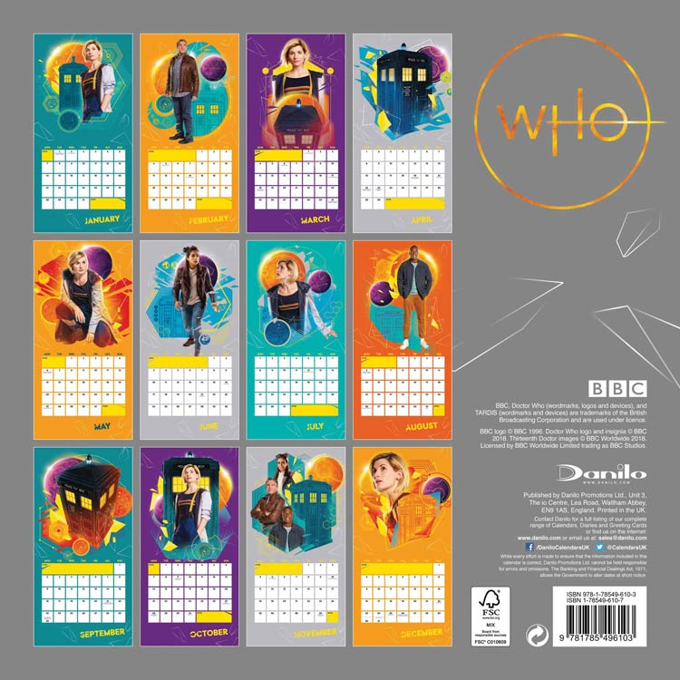 Doctor Who Official 2019 Square Wall Calendar Merchandise Guide