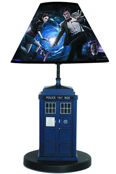 Doctor who tardis table lamp merchandise guide the doctor who site this detailed tardis table lamp features both light and sounds taken from the hit bbc series doctor who the double sided shade features the doctor and amy mozeypictures Gallery