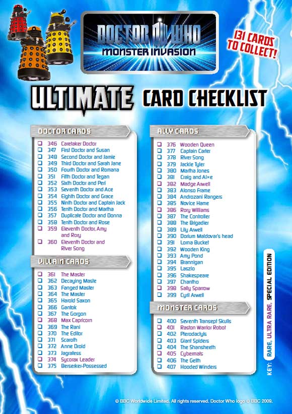 Monster Invasion Ultimate Card Check List – Merchandise Guide - The